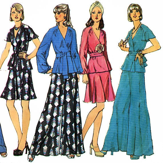 Simplicity 6100 Vintage 70s Misses' Wrap Top, Skirt and Pants Sewing Pattern - Uncut - Size 12 - Bust 34
