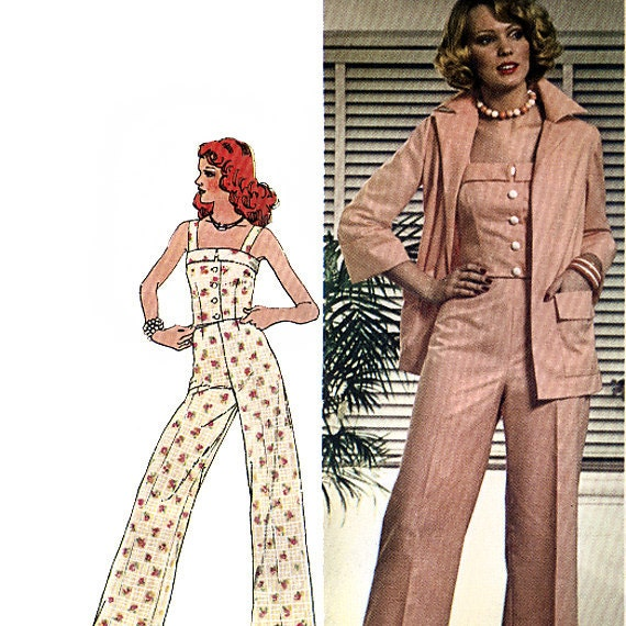 Simplicity 6458 Vintage 70s Misses' Shirt-Jacket, Camisole Top and Pants Sewing Pattern - Uncut - Size 14 - Bust 36