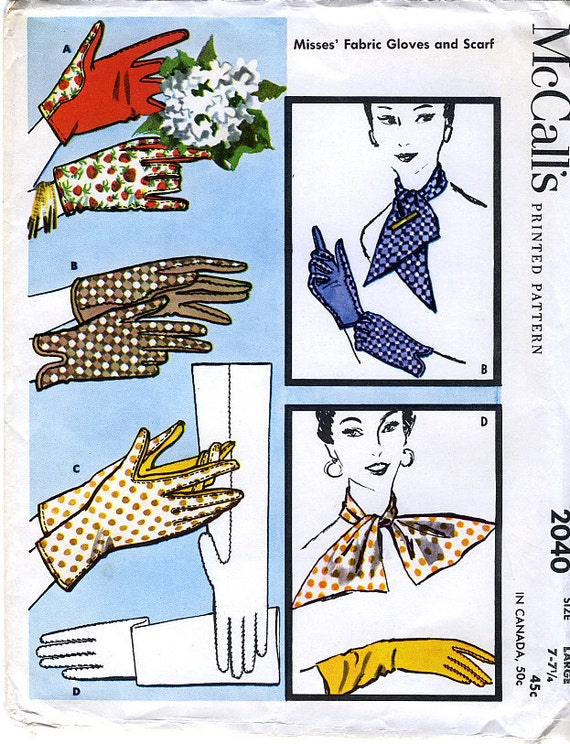 McCall's 2040 Vintage 50s Misses' Fabric Gloves and Scarf Sewing Pattern - Size Large