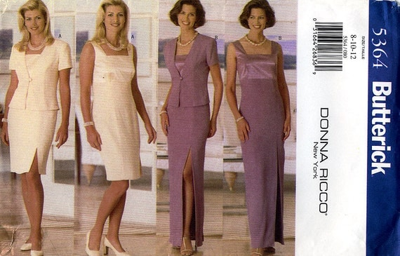 Butterick 5364 by Designer Donna Ricco Misses' Formal Evening Jacket and Dress Sewing Pattern - Uncut - Size 8, 10, 12 - Bust 31.5, 32.5, 34