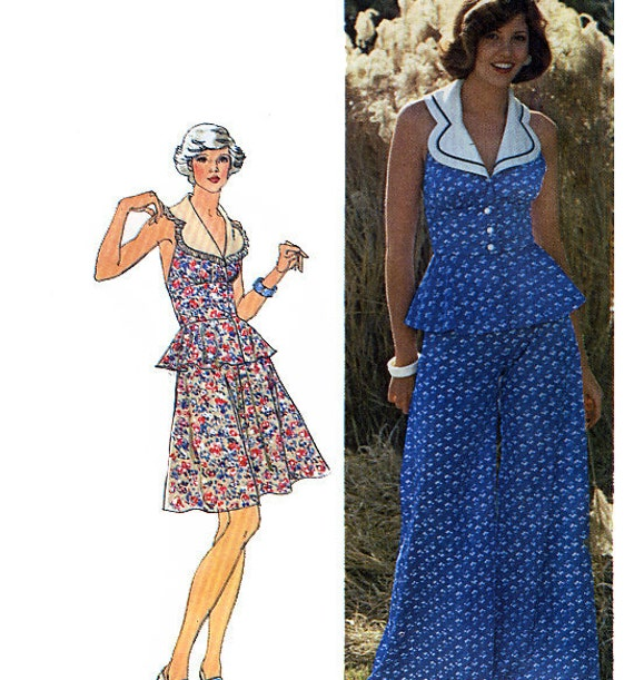 Simplicity 6386 Vintage 70s Misses' Two-Piece Halter Dress or Top and Pants Sewing Pattern - Uncut - Size 8 - Bust 31.5