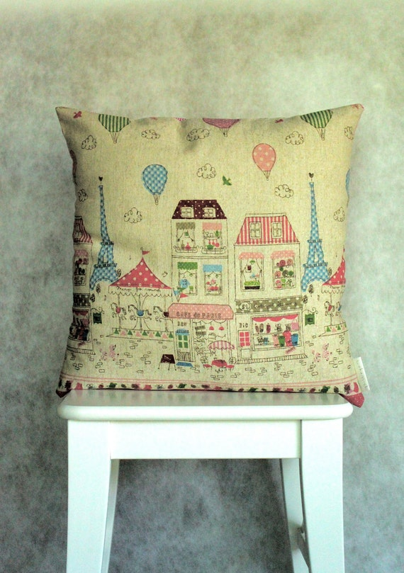 "Happy Paris Cushion/Pillow Cover 18"" (46 cm)"