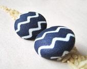 Zig & Zag - Ankara African Fabric Button Earrings
