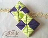 Karis Squearrings - Ankara African Fabric Earrings
