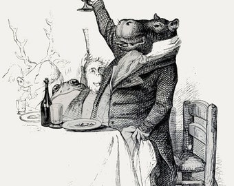 Toasting Hippo Print Digital Download Vintage Illustration