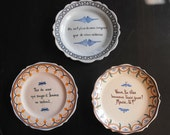 3 Vintage French Country Plates  3 with Maxims 'Charming if a bit Naughty'