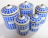 RESERVED FOR JODY 5 French Vintage Enamelware Cannisters Complete Set with Lids Blue and White