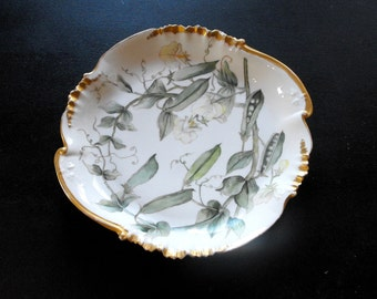 Antique Limoges Haviland Porcelain Cake Plate Hand-painted with English Peas