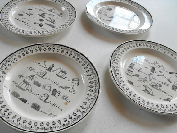 RESERVED FOR CASSANDRACLARE French Antique Plates Set of 4 Rebus Theme c. 1800 to 1825