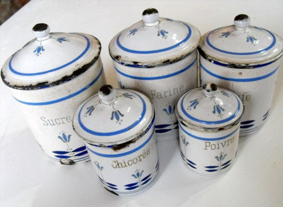 5 French Vintage Enamelware Cannisters