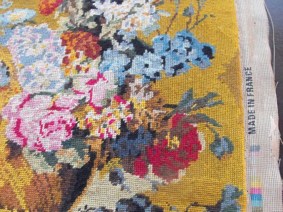 French Vintage Needlepoint Bouquet of Flowers