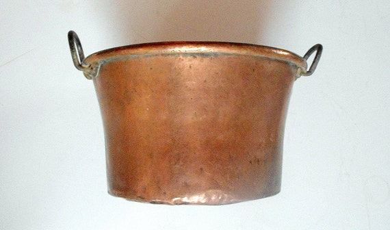 RESERVED FOR JMARTIN Antique Copper Cauldron Solid Copper Huge French 19th cent., Artisanally Wrought