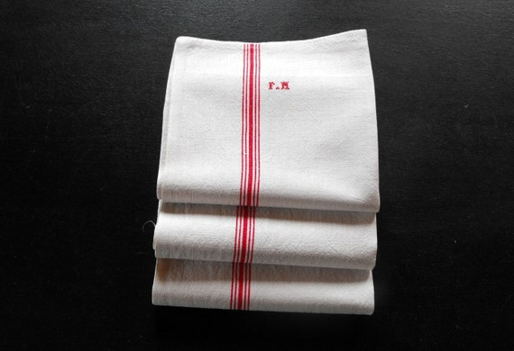 ON SALE One Vintage French Kitchen Towel Torchon.... Special Price for all 3