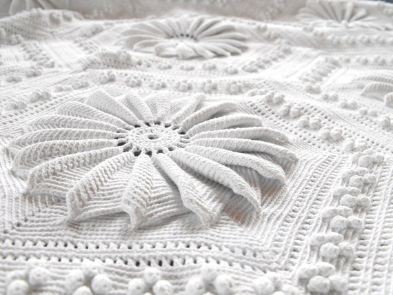 RESERVED FOR SERAPHINA Vintage French Hand Crocheted Bed Coverlet Remarkable Work