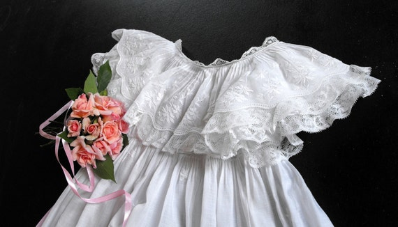 RESERVED FOR MARIA French Antique Christening Gown Handmade with Exceptional Embroidery Beautifully Elegant