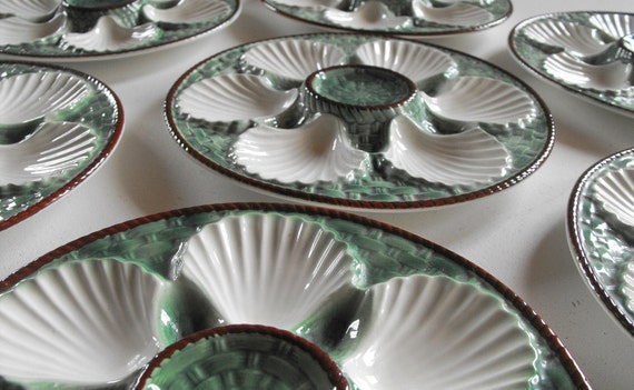 RESERVED FOR DELAINIA French Vintage Oyster Plates Rare Set of 12 in Barbotine Green and White