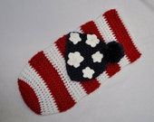 Patriotic Cocoon PomPom hat Set - Newborn - American Flag - Photography Prop - Made to Order