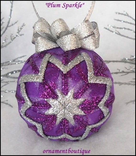 Purple Christmas Ornament Quilted silver sparkle