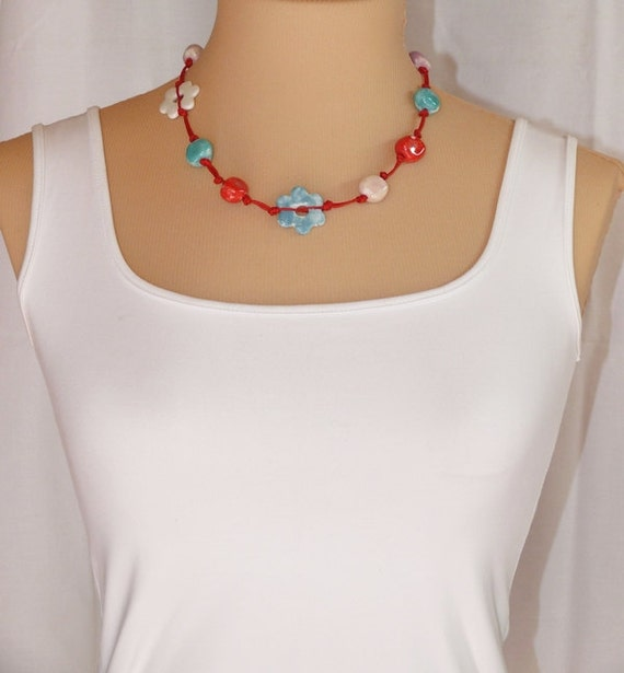 Red, white, blue, green and purple porcelain necklace with sterling silver clasp