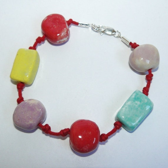 Red, yellow, purple and green porcelain bracelet with sterling silver clasp