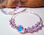 Purple Swarovski Crystal Hoop Earrings - Alexandrite - Choose color - Purple Hoops - Crystal Hoops - Crystal Earrings - Teen Girls Jewelry