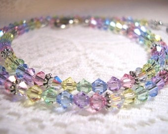 Pastel Rainbow Swarovski Crystal Necklace - Multicolor Necklace - Crystal Necklace - Bridal Necklace - Bridal Party Gift Ideas for Women