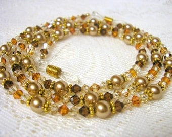 Swarovski Crystal and Pearl Eyeglass Chain Lanyard in Topaz + Gold - Reading Glasses Chain, Crystal Lanyard, Autumn Fall Eyeglasses Chain