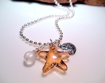 Crystal Starfish Necklace - Swarovski Crystal Golden Shadow - Sterling Silver Sand Dollar Charm - Beach Wedding - Summer Necklace  Free Ship