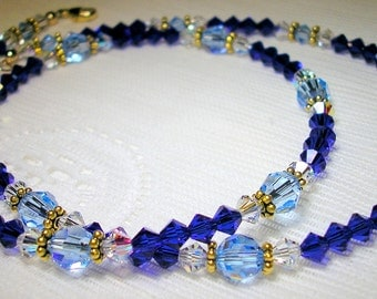 Blue Swarovski Crystal Necklace - Cobalt Blue and Sapphire Necklace - Crystal Jewelry - Blue Birthstone Necklace - OOAK Necklace - Free Ship