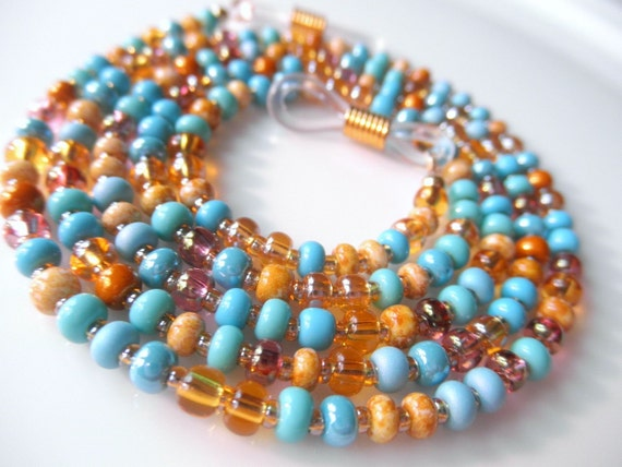 Southwest Desert Inspired Eyeglass Lanyard Chain Necklace - Turquoise Eye Glasses Chain - Topaz - Beaded Eyewear Eyeglass Jewelry