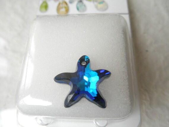 Swarovski Crystal Starfish Bermuda Blue Pendant Bead - 16mm 6721 - Jewelry Craft Supplies