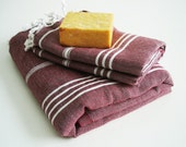 SET-Turkish Towel A Peshtemal and Peshkir-Claret red