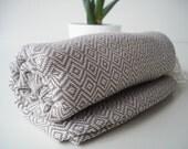 Turkish BATH Towel Peshtemal - Light Gray