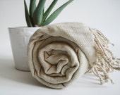 Turkish BATH Towel Peshtemal - LINEN - Natural Color