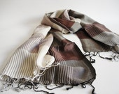 The Best Quality Willow Fibers and Silk Handwoven Scarf  - Brown Cream - Shipping with FedEx