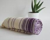 Turkish BATH Towel Peshtemal - Natural - Purple