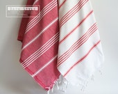 SET 2 Piece Turkish BATH Towel - Classic Peshtemal - Red and White (red and white striped)