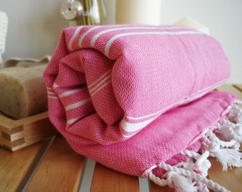 SALE 50 OFF/ Turkish Beach Bath Towel / Classic Peshtemal / Pink / Wedding Gift, Spa, Swim, Pool Towels and Pareo