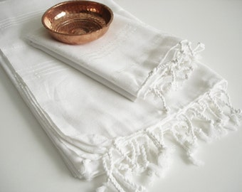 Shipping with FedEx - Set 2 Piece Turkish BATH Towel - Classic Peshtemal and Head Towel Peshkir - White (silver striped)