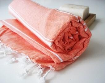 Shipping with FedEx - Turkish BATH Towel - Classic Peshtemal - Orange - Beach, Spa, Swim, Pool Towels and Pareo