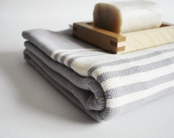 SALE 50 OFF/ BathStyle / Gray-White / Turkish Beach Bath Towel Peshtemal / Bath, Beach, Spa, Swim, Pool Towels