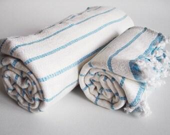 SALE 50 OFF/ SET / Turkish Beach Bath Towel / Blue Striped / Wedding Gift, Spa, Swim, Pool Towels and Pareo