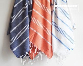 SALE 50 OFF / SET 3 / Turkish Beach Bath Towel / Classic Peshtemal / Blue - White - Orange / Wedding Gift, Spa, Swim, Pool Towels and Pareo