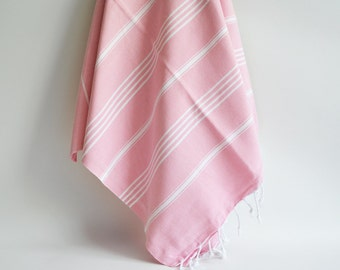 SALE 50 OFF / Turkish Beach Bath Towel / Classic Peshtemal / Light Pink / Wedding Gift, Spa, Swim, Pool Towels and Pareo