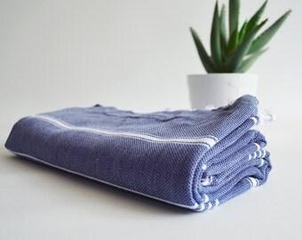 SALE 50 OFF / Turkish Beach Bath Towel / Classic Peshtemal / Denim Blue / Wedding Gift, Spa, Swim, Pool Towels and Pareo