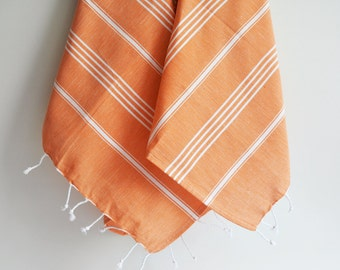 SALE 50 OFF/ SET 2 Towels /Head and Hand Towel / Classic Style / Orange - White striped