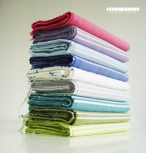 SALE 50% OFF - Turkish BATH Towel - Classic Peshtemal - Red striped