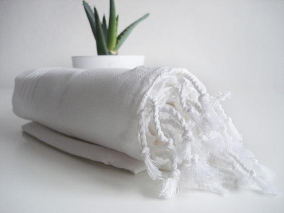 SALE - 20% OFF // Turkish BATH Towel - Classic Peshtemal - White