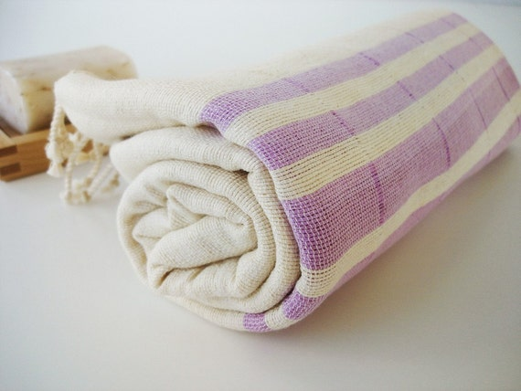 Turkish BATH Towel Peshtemal - Natural Cotton - Lilac Striped