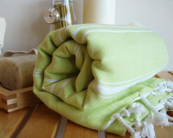 Turkish BATH Towel - Classic Peshtemal - Lime Green